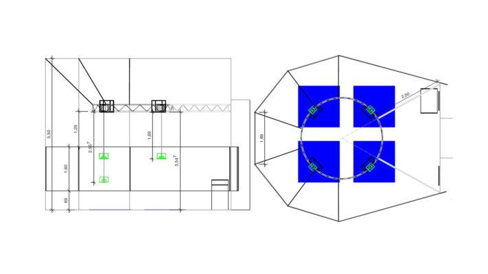 Raumplanung für Position der technischen Ausstattung
